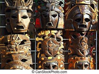 メキシコ人, 木製のマスク, 木, 顔, handcrafted