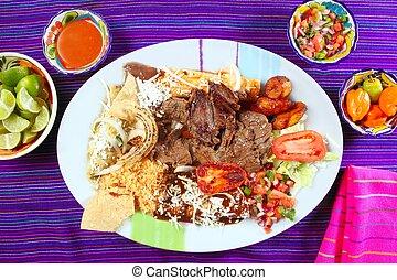 メキシコ人, 牛肉, arrachera, フランク, 皿, チリ, ステーキ