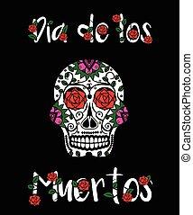 メキシコ人, illustration., 頭骨, カード, de, dia, 死んだ, 挨拶, los, ベクトル, calavera., 砂糖, 旗, 日, muertos