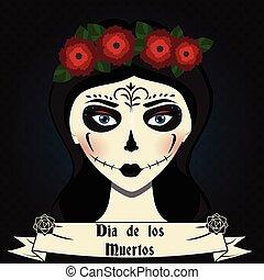 。, メキシコ人, illustration., 頭骨, calavera, 作りなさい, de, dia, 死んだ, 砂糖, los, ベクトル, muertos, 女の子, 日, カード, 挨拶