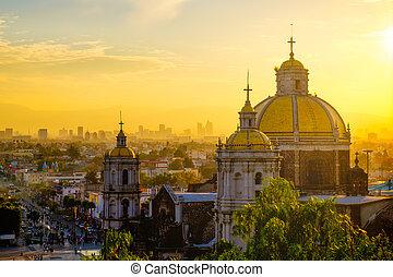 メキシコ\, 光景, 景色, バシリカ, guadalupe, 都市 スカイライン
