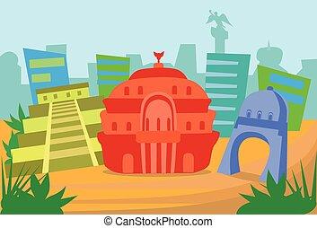 メキシコ\, 抽象的, スカイライン, 都市, 超高層ビル, シルエット