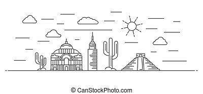 メキシコ\, 線, パノラマ, スタイル