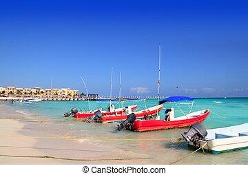 メキシコ\, riviera, mayan, del, playa, carmen, 浜