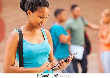 メスのアフリカ人, 大学生, ∥で∥, タブレット, コンピュータ