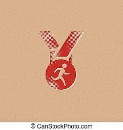 メダル, アイコン, -, halftone, 運動