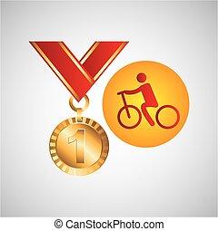 メダル, オリンピック, サイクリング, 金, アイコン