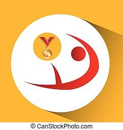 メダル, オリンピック, gymnatics, 芸術的, 金