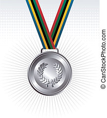 メダル, リボン, 銀, 背景