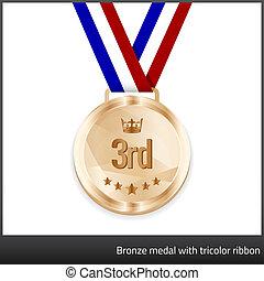 メダル, 三色旗, 銅, リボン