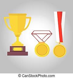 メダル, 勝者, リボン, 金, イラスト, アイコン, メダル, ベクトル, トロフィー, 平ら