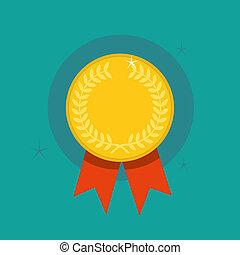 メダル, 賞, 勝者, トロフィー, 平ら, イラスト