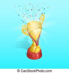 メダル, 金, 選手権, カップ