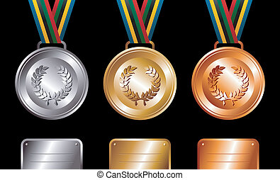 メダル, 銀, 背景, 銅, 金