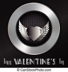 メッセージ, バレンタイン, ブラシをかけられる, 背景, 金属