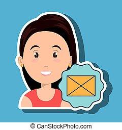 メッセージ, 女, 封筒, 電子メール