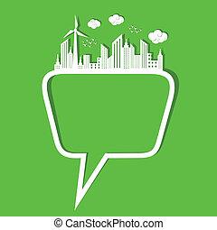 メッセージ, 概念, 泡, エコロジー