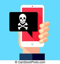 メッセージ, 現代, 脅威, 骨, デザイン, 欺瞞, concepts., スパムしなさい, sms, スピーチ, ...
