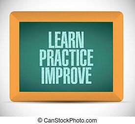 メッセージ, 練習, 学びなさい, イラスト, 改良しなさい