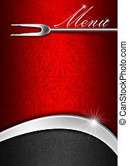 メニューテンプレート, -, 赤, 金属, そして, 黒