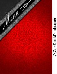 メニューテンプレート, -, 銀, そして, 赤, ビロード