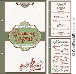 メニュー, お祝い, クリスマス, 特別, design.