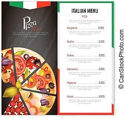 メニュー, イタリア語, デザイン, ピザ