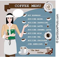 メニュー, コーヒーカップ, 女の子