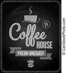 メニュー, コーヒー, デザイン, 黒板, 背景