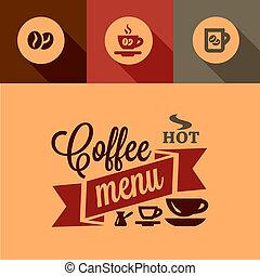 メニュー, コーヒー, 要素, デザイン