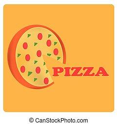 メニュー, デザイン, ピザ