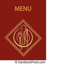 メニュー, デザイン, background-2, 赤, レストラン