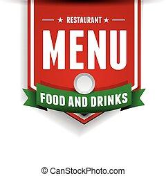 メニュー, デザイン, vector., レストラン