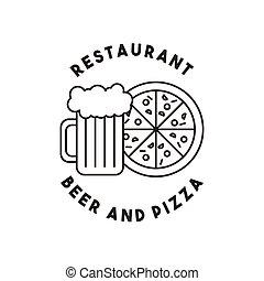 メニュー, ビール, ピザ, レストラン