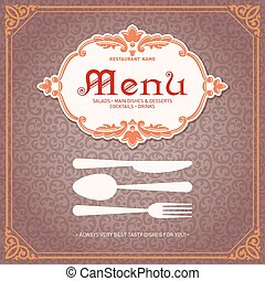 メニュー, レストラン, デザイン, 型