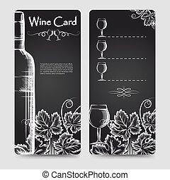 メニュー, ワイン, カード, テンプレート, フライヤ