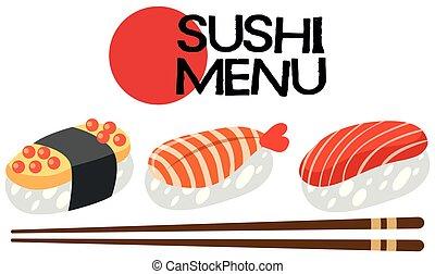 メニュー, 寿司, セット, 日本語