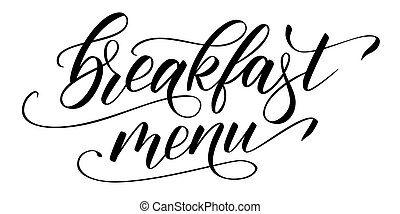 メニュー, 朝食, カリグラフィー, 現代, ブラシ