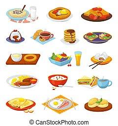メニュー, croissant., セット, オレンジ, illustrations., 食事, ジュース, ベーコン, 卵, 朝食, ベクトル, 古典である, 隔離された, コーヒー, 揚げられている, ホテル, トースト, 食物