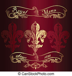メニュー, de, 皇族, fleur, デザイン, lis