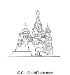 メボウキ, 大聖堂, モスクワ, 聖者, スケッチ