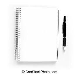 メモ用紙, らせん状に動きなさい, バックグラウンド。, ペン, ブランク, 白