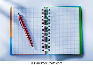 メモ用紙, ペン, チェックされた, 白い背景