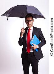 メモ用紙, 傘, ビジネス男