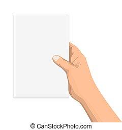 メモ用紙, 隔離された, イラスト, 手, ベクトル, 白, 空