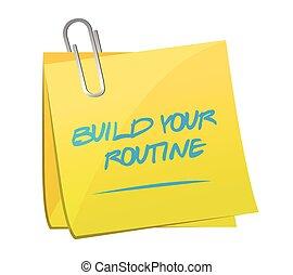 メモ, イラスト, デザイン, 建造しなさい, ルーチン, ポスト, あなたの