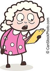 メモ, イラスト, 執筆, ベクトル, おばあさん, ボール紙, 漫画