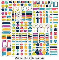 メモ, コレクション, デザイン, ステッカー, infographics, pointers., ペーパー, mega...