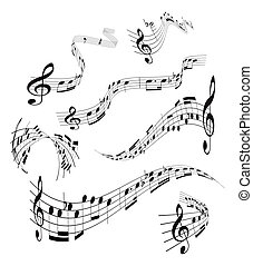 メモ, セット, 音楽のスタッフ
