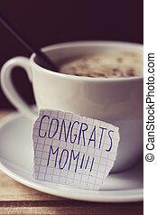 メモ, テキスト, お母さん, congrats